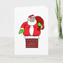 Funny Santa Claus Joke Stuck In Chimney Holidays Holiday Card