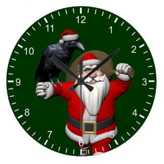 Funny Santa Claus Loves Ravens Large Clock