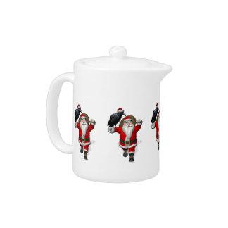 Funny Santa Claus Loves Ravens Teapot