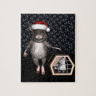 Funny Santa Claus Mouse Jigsaw Puzzle