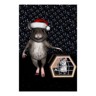 Funny Santa Claus Mouse Poster