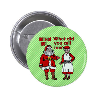 Funny Santa Claus & Mrs Christmas Button