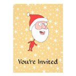 Funny Santa Claus, on Gold Color Star Pattern. Custom Announcements
