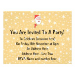 Funny Santa Claus, on Gold Color Star Pattern. Custom Invitations