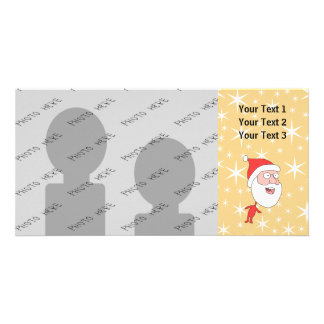 Funny Santa Claus on Gold Color Star Pattern Photo Card Template