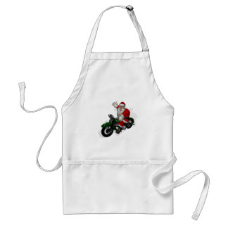 Funny Santa Claus On Green Vintage Motorbike Adult Apron