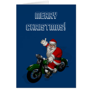 Funny Santa Claus On Green Vintage Motorbike Greeting Card