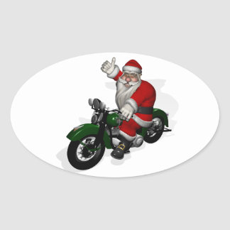 Funny Santa Claus On Green Vintage Motorbike Oval Sticker