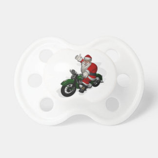 Funny Santa Claus On Green Vintage Motorbike Pacifier