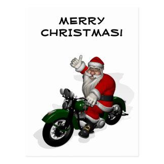 Funny Santa Claus On Green Vintage Motorbike Postcard