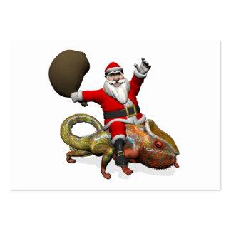 Funny Santa Claus On Huge Panther Chameleon Large Business Cards (Pack Of 100)