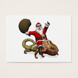 Funny Santa Claus On Huge Panther Chameleon Business Card