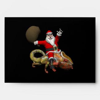 Funny Santa Claus On Huge Panther Chameleon Envelopes
