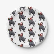 Funny Santa Claus On Rhino Rhinoceros Paper Plate