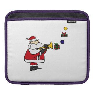 Funny Santa Claus Playing Trumpet iPad Sleeves