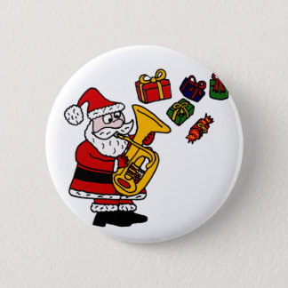 Funny Santa Claus Playing Tuba Christmas Art Button
