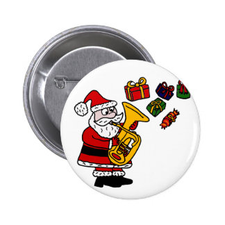 Funny Santa Claus Playing Tuba Christmas Art Button