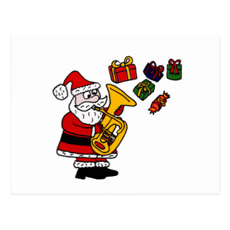 Funny Santa Claus Playing Tuba Christmas Art Postcard