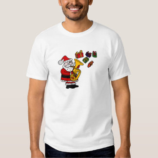 Funny Santa Claus Playing Tuba Christmas Art Shirt
