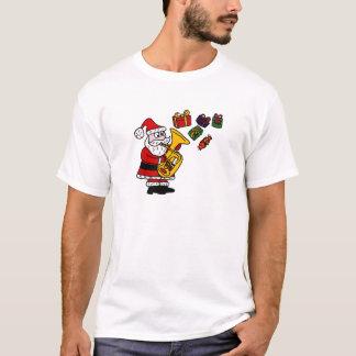 Funny Santa Claus Playing Tuba Christmas Art T-Shirt