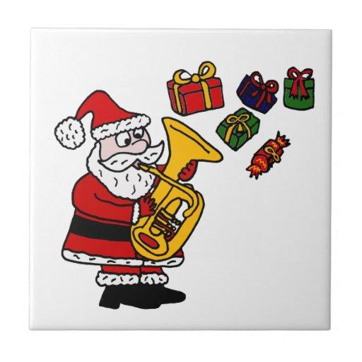 Funny Santa Claus Playing Tuba Christmas Art Ceramic Tile