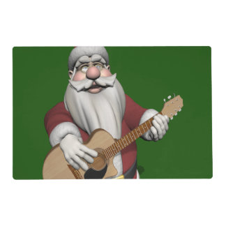 Funny Santa Claus Plays Accoustic Guitar Placemat