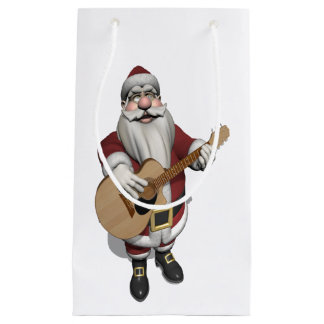 Funny Santa Claus Plays Accoustic Guitar Small Gift Bag