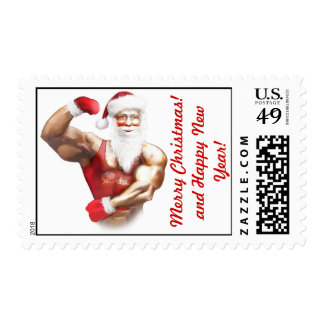 funny santa claus postage stamp