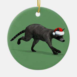 Funny Santa Claus Racoon Ceramic Ornament