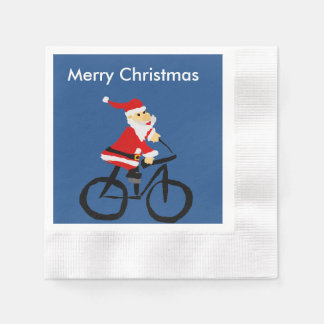 Funny Santa Claus Riding Bicycle Art Coined Cocktail Napkin