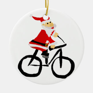 Funny Santa Claus Riding Bicycle Christmas Art Ceramic Ornament