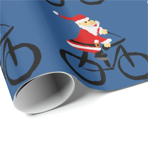 Funny Santa Claus Riding Bicycle Christmas Art Wrapping Paper