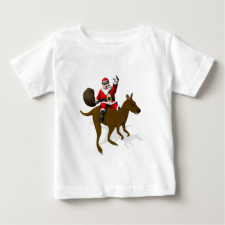 Funny Santa Claus Riding On Kangaroo Baby T-Shirt