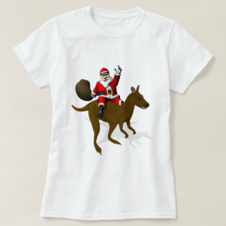 Funny Santa Claus Riding On Kangaroo T-Shirt