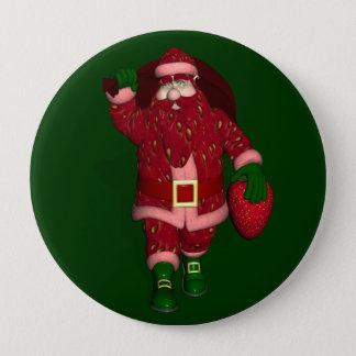 Funny Santa Claus Strawberry Farmer Button