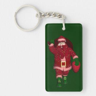 Funny Santa Claus Strawberry Farmer Keychain