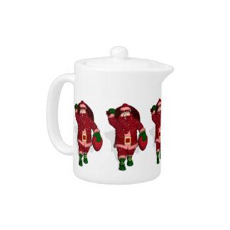 Funny Santa Claus Strawberry Farmer Teapot