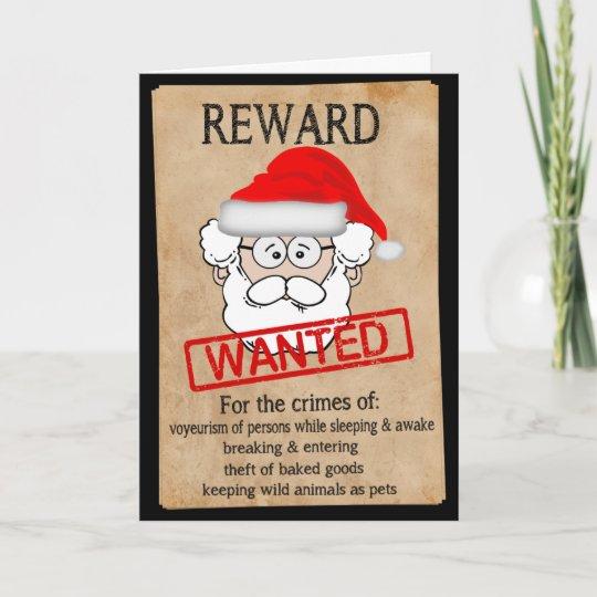 87997680f31479 Funny Santa Claus Wanted Poster Holiday Card