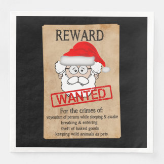 Funny Santa Claus Wanted Poster Paper Dinner Napkin