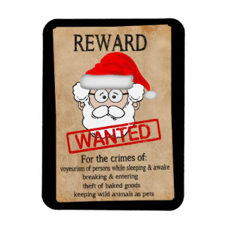 Funny Santa Claus Wanted Poster Rectangular Photo Magnet