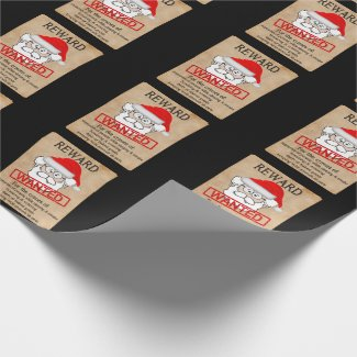 Funny Santa Claus Wanted Poster Wrapping Paper