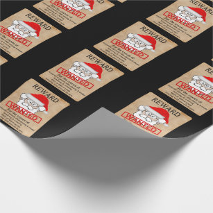 704092877ef3fd Funny Santa Claus Wanted Poster Wrapping Paper