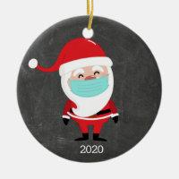 Funny Santa Claus Wearing Facemask 2020 Christmas Ceramic Ornament