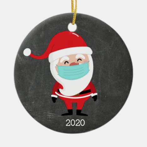 Funny Santa Claus Wearing Facemask 2020 Christmas Ceramic Ornament