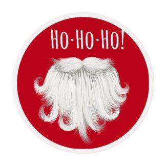 "Funny Santa Claus white beard laughing ""Ho ho ho"" Edible Frosting Rounds"