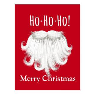 """Funny Santa Claus white beard laughing """"Ho ho ho"""" Postcard"""