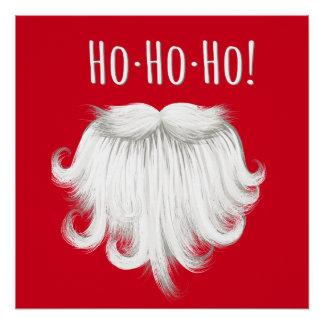 """Funny Santa Claus white beard laughing """"Ho ho ho"""" Poster"""