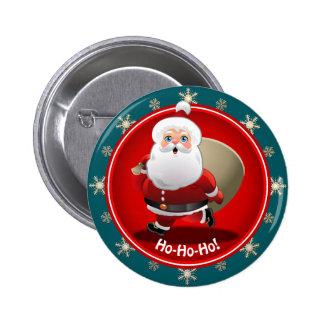 Funny Santa Claus With A Sack Full Of Gifts Pinback Button