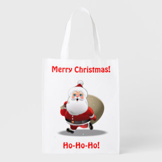 Funny Santa Claus With A Sack Full Of Gifts Reusable Grocery Bag