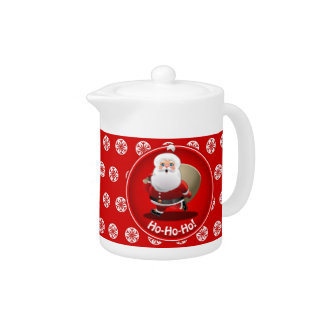 Funny Santa Claus With A Sack Full Of Gifts Teapot